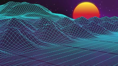 Neon Looping Grid Terrain with Sun Animation Clip:01931